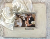 Wedding Frame White Ivory Bow Jewel Pearl Diamond Personalize Rustic Country Barn Beach