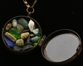 Under The Sea Necklace Gemstones and Fossil, Shark Tooth