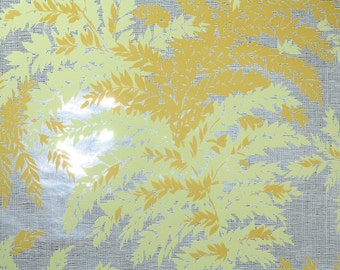 Retro Wallpaper by the Yard 70s Vintage Mylar Wallpaper - 1970s Botanical Yellow and Orange Fern Leaves on Metallic Silver and White