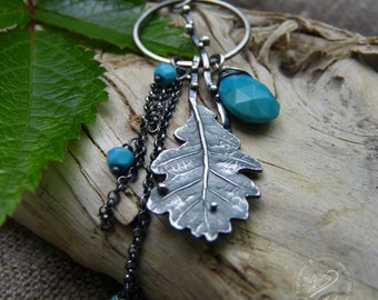 Oak Leaf Pendnat, Sterling Silver Turquoise Necklace, Turquoise Jewelry, Woodland Wedding, Nature Jewelry, Silver Leaf Pendant