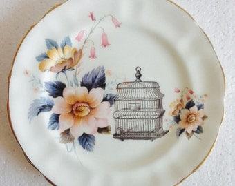 Birdcage plate with pink grey roses - Vintage china - Plate for Wall Display Collage - Arklow