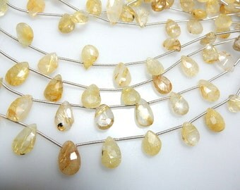 Golden Rutilated Quartz Faceted Briolette Pear Drops -8x12MM To 10x12MM 8'' Outstanding  AAA Quality Of  Wholesale Price