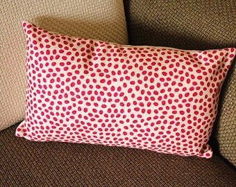 """Linen Pillow - red white rose leaf geometrical Pillow Cover -  lumbar Pillow - printing Throw Pillow  Cushion Covers- 12"""" x 20"""" 248"""