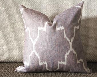 Edom Grey Ikat Pillow Cover (18x18, 20x20, 22x22, 24x24,26x26) cotton linen pillow covers 305