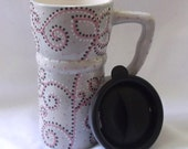 Ceramic Travel Mug w/lid - Gray with Pink flowers, dots, swirls