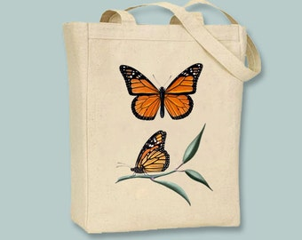 Stunning Vintage Monarch Butterfly Illustration Canvas Tote - selection of sizes available