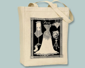 Paris Bridal Wedding Gown Dress Form Vintage Collage Natural or Black Canvas Tote - Selection of sizes, ANY COLOR image