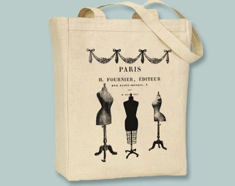 Paris Dress Forms Collage Illustration Tote - Selection of  sizes and ANY COLOR IMAGE