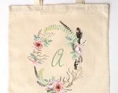 Feathers Antlers and Florals Printed Bridal Party - Bridesmaid, Maid of Honor, Flower Girl Tote Bags for Weddings - Watercolor Wreath
