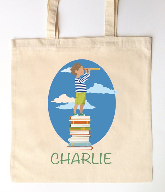 Library Tote for Kids - Custom Printed Library Book Bag - Children's Tote Bag - little boy explorer library tote book bag