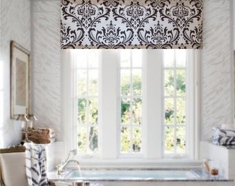 Top Window Treatment Natural Brown Damask Curtain Valance  Bathroom Bedroom Living Room Kitchen Handmade in the USA