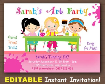 Painting Party Invitations, Fun Kids Party Invites, Art Party Invitations, Craft Party Invitations, Paint Splatter Invitation, Painting
