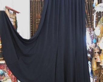 Gypsy Black Flaring Long Skirt with Elasticized Waistline, Vintage - Medium to Large