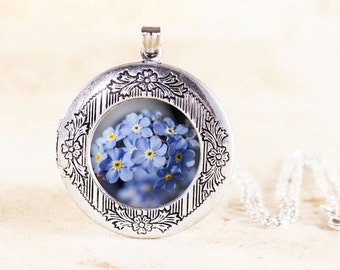 Forget Me Not Locket - Silver Flower Jewelry Locket, Blue Flower Locket, Wild Flower Photography Jewelry, Blue Forget Me Not Necklace Locket
