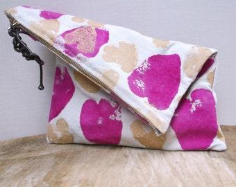 Handpainted Clutch, Clutch purse, Clutch bags, Women's Clutch, Purse, Painted Clutch,  Fabric Clutch, Foldover purse, Zipper purse