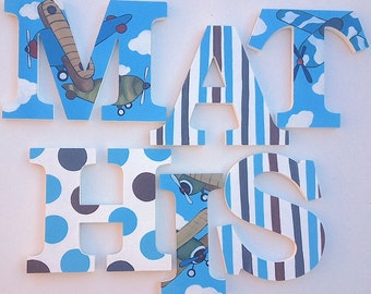 Vintage Plane Themed Wooden Wall Name Letters / Hangings, Hand Painted for Boys Rooms, Play Rooms and Nursery Rooms