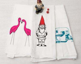 Set of Three Flour Sack Towels - Gnome, Flamingos, Camper Trailer Screen Printed  Tea Towels