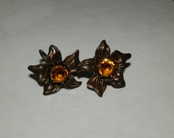 Vintage Screw Sterling Earrings-Flower shape with Topaz color stone