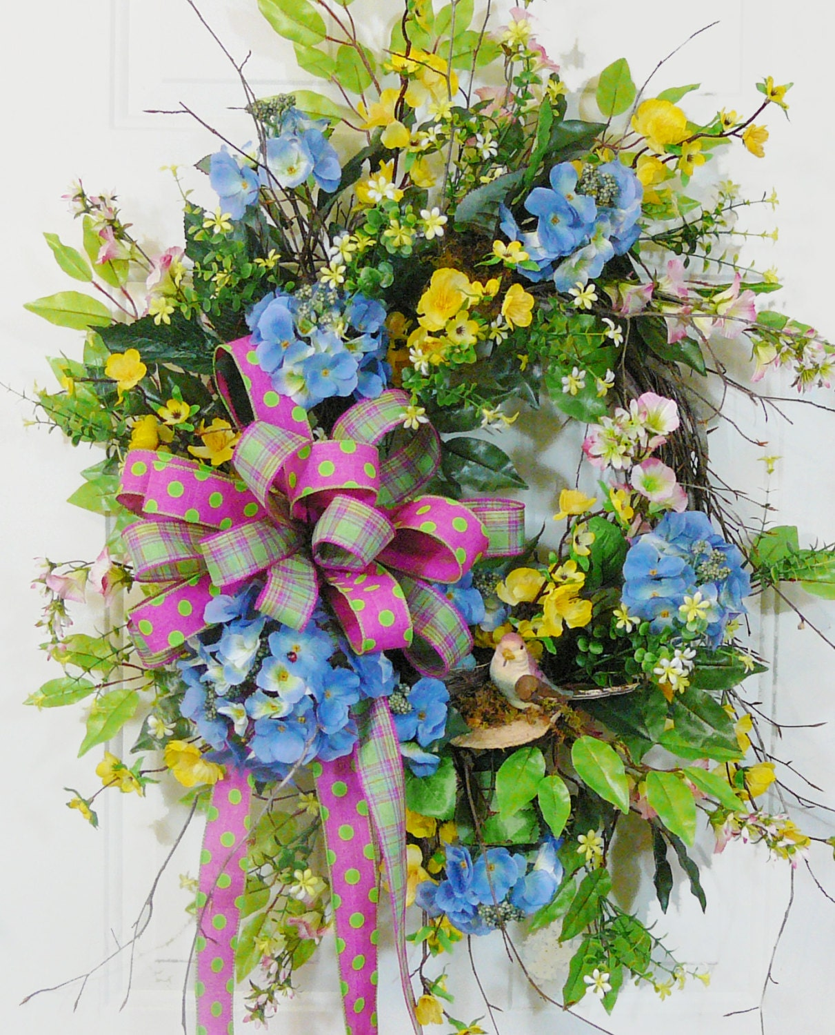 blue hydrangea wreath large spring wreath spring by