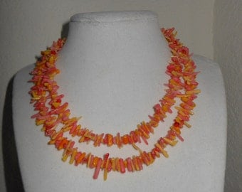 Coralisicous/Faux branch coral necklace/yellow and pink faux coral necklace/womens faux coral necklace/coral branch necklace