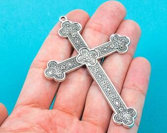 2 Large Antique Silver Tone Ornate Cross Pendants, chs0157