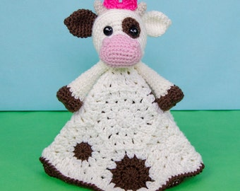 Doris the Cow Lovey / Security Blanket - PDF Crochet Pattern - Instant Download - Blankie Baby Blanket