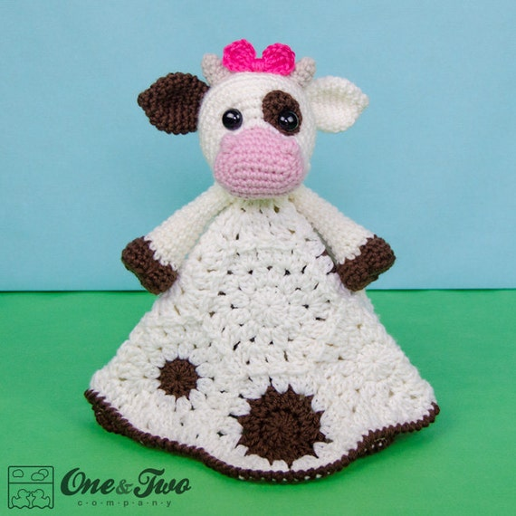 Free Crochet Pattern For Cow Hat : Doris the Cow Lovey / Security Blanket PDF Crochet Pattern