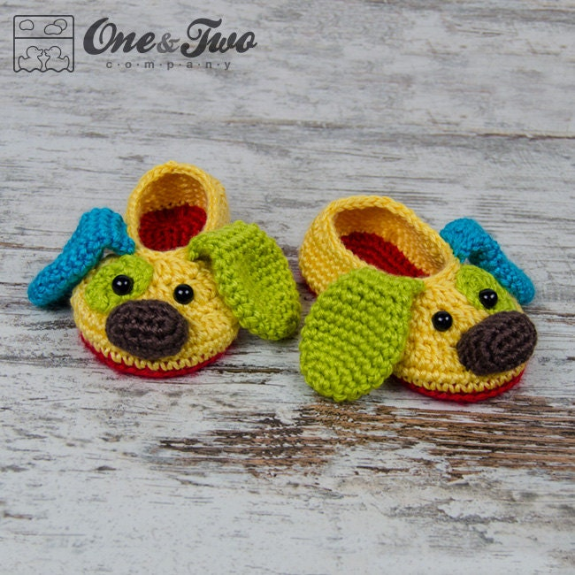 Crochet Patterns For Toddlers Slippers : Scrappy the Happy Puppy Slippers PDF Crochet Pattern