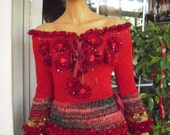 MADE TO ORDER sweater handmade knitted sexy peplum top/gypsy red black top/decorated with roses top gift idea for her by goldenyarn