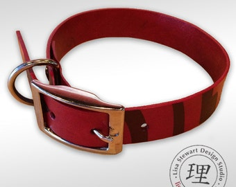 Purple Full Grain Leather Dog Collar - Featuring MarrakechCats Hand Stained Vegetable Tan