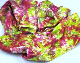 silk scarf Hand Dyed spring garden  women's silk accessories sash belt neck tie head band