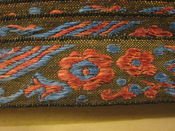 Vintage Brown Red And Blue Floral Embroidered Trim