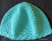 Cloche Hat - Chemo Cap - Aqua - Thinking Cap - Bad Hair Day Hat - Reading Hat - One Size Fits Most - Item 4303