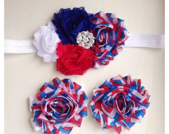 CLEARANCE Chevron Flag American Baby Girl 4th of July Patriotic Princess Shabby Headband Barefoot Sandals 0-5 6-12 12-18 months blue