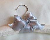 Silver /Gray Double Faced Wired Satin Bow on White or Ivory Chantilly Lace and Satin Padded Wedding Hanger