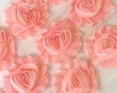 """Blush Pink Shabby Rose Trim 2.5"""" Shabby Flowers Shabby Chiffon Flowers - Solid Shabby Chic Trim Wholesale Rosette trim 6cm 1 yard  #420"""