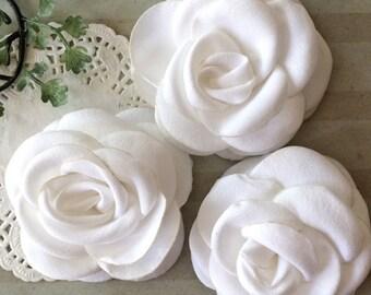 "White Fabric Flowers - Small 2.25"" - 5.5cm Soft Satin Rose flowers wedding embellishment baby headband applique wholesale flower Heather"
