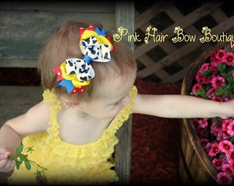 Cowgirl Headband Hair Bow Cow Print Hair Bow Headband Cowgirl Birthday Baby Headband