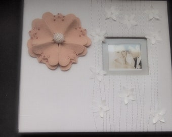 Wedding Scrapbook Album White Peach Pink Jasmine Flower