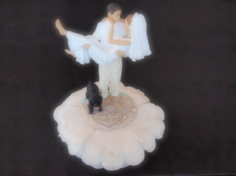 Cake Topper Wedding Ivory Bride and Groom Dog Poodle