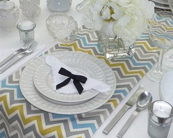 Blue Grey Yellow Table Runner - Wedding Table Runner - Wedding Table Decor - Chevron Zoom Blue Grey Yellow - 12 x 70