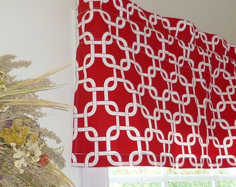 Made to Order Window Curtains, Red Window Valance - Red Window Curtains  - Red Valances - Gotcha Red Window Valance 52 x 16 with Ruffled Top