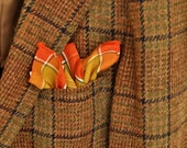 Men's Pocket Square Plaid Handkerchief Large Hanky Mens Fashion Father's Day Gentleman's Gift Orange Gold Forest Green Cotton Blend
