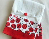 Kitchen towels lady bug in red and black cotton - set of two flour sack towels