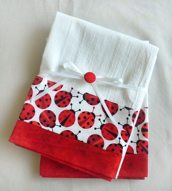 Red Kitchen Towels: Kitchen Towels Lady Bug In Red And Black Cotton Set Of Two