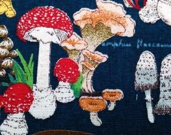Mushroom, dark blue, fat quarter, pure cotton fabric