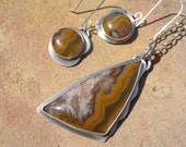 Kentucky Agate Sterling Silver Necklace and Earring Set