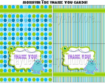 Monster inc Thank You Card , INSTANT DOWNLOAD!!!