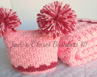 Baby Girl Gift Set, Crochet Baby Travel Blanket and Hat Gift Set, Cotton Candy Pink and Raspberry