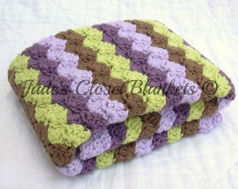 Crochet Baby Blanket, Lilac Purple, Dusty Purple, Lime, and Chocolate Brown, Travel Size
